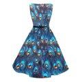 Candowlook mujeres audrey hepburn estilo de cuello barco de plumas de pavo real azul 50 s 60 s rockabilly vintage party pinup midi oscilación dress