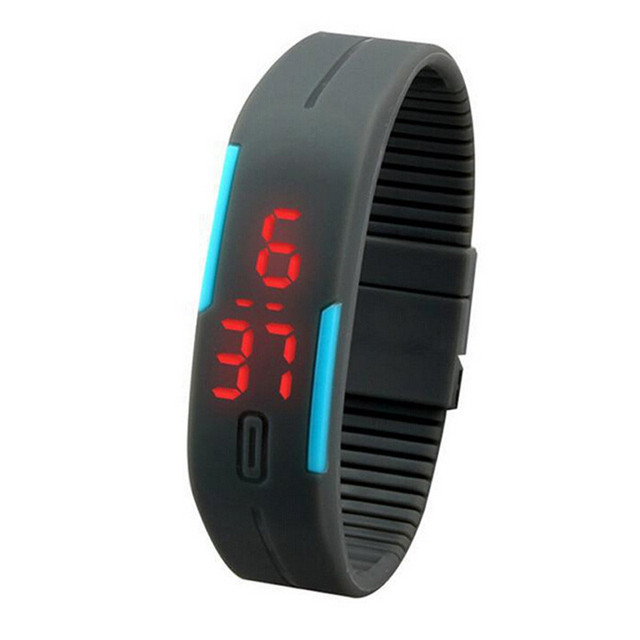 New Ultra Thin Men Girl Sports Silicone Digital LED Sports Wrist Watch Sports Wa