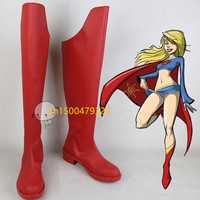 High Quality Adult Supergirl Cosplay Shoes Boots Movie Halloween Carnival For Women Custom Made Free Shipping
