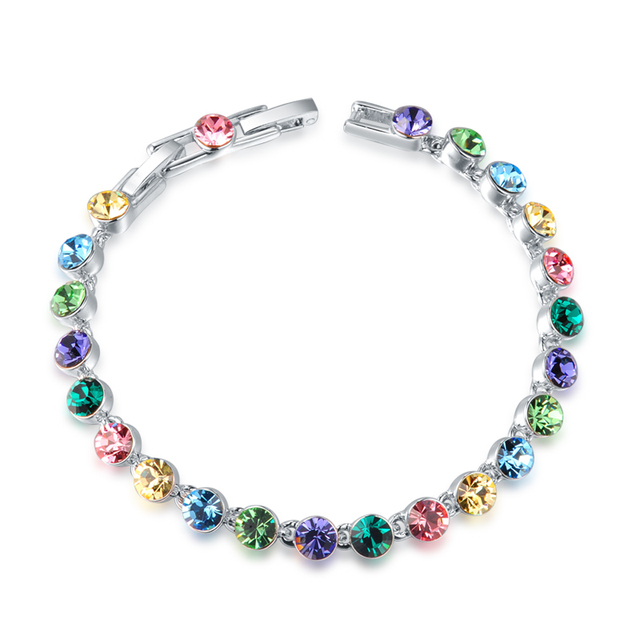 2017 Brand New Multicolored Bracelets Austrian Crystal Women OL Wedding Jewelry Best Gifts For Girlfriends Party Fashion Bijoux