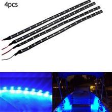 "4x Boat Navigation LED Lighting Blue 12"" Waterproof Marine LED Strips Boat Deck Courtesy Bow Pontoon Light"