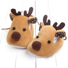2018 New Arrival Baby Shoes Christmas Deer Shape Newborn Boy Soft Flat Infant Baby Girl Crib Shoes Soft Sole Anti-slip Sneakers(China)
