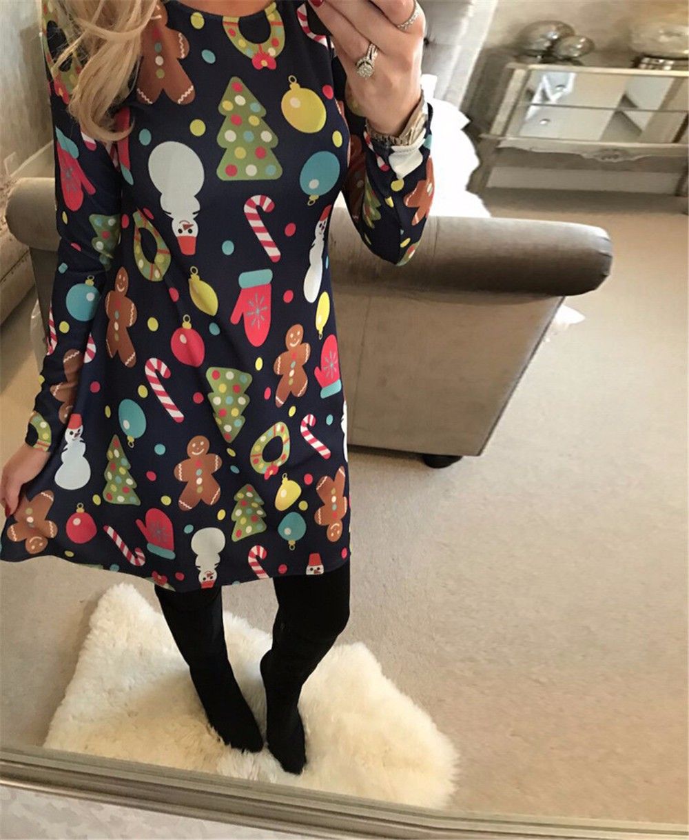4XL 5XL Big Size Casual Print Cartoon Christmas Tree Cute Loose Dress Autumn Winter A-Line Dresses 18 Plus Size Women Clothing 5