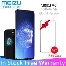 Küresel sürüm Meizu X8 4G 64G 4G LTE cep telefonu Snapdragon 710 Octa Çekirdek 6.15 ''2220x1080 P Çift Arka Kamera Parmak Izi ki...