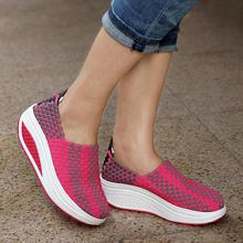 Women's Pumps Shoes Slimming Single Shaping Knitted Loafers 2016 Spring Autumn high heel shoes comfort wedges shoes