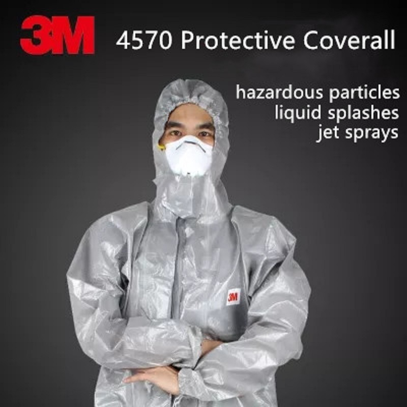 3M 4570 Gray Hooded Protective Coverall High-performance Chemical Protective Suit Chemical Jets Sprays Hazardous Particles Wear