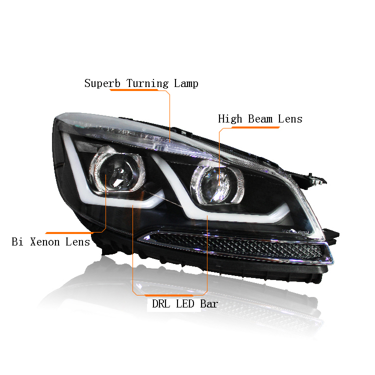 Ownsun New Eagle Eyes LED DRL Bi-xenon Projector Lens Headlights For Ford Escape Kuga 2013 2015 ownsun new style tear drop led projector lens headlight for new ford focus 2012 2013