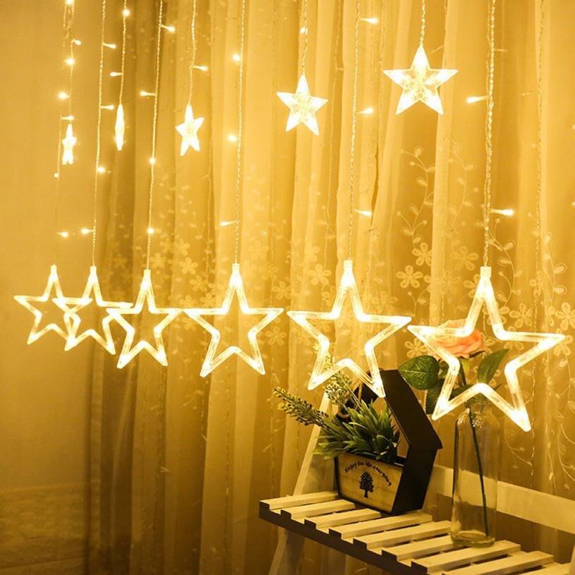 8797d6985bb 12 piezas gran estrella 138LED estrellas Navidad cortina luces cadena neto  de Navidad Fiesta de Casa Dec en interiores y al aire libre navidad
