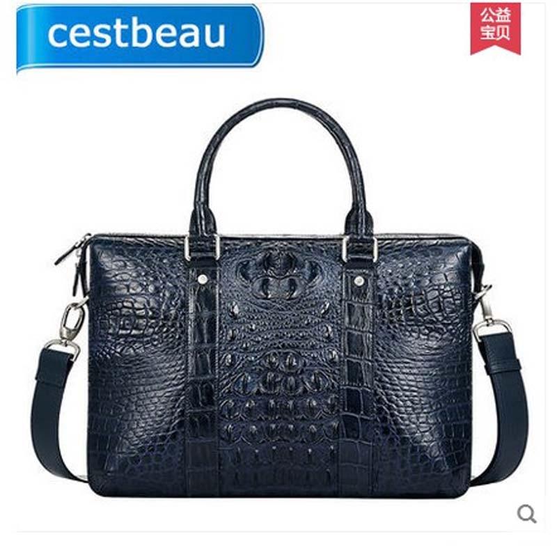 2018 cestbeau crocodile man bag men's handbag single shoulder bag  blue men briefcase crocodile skin bag single sided blue ccs foam pad by presta
