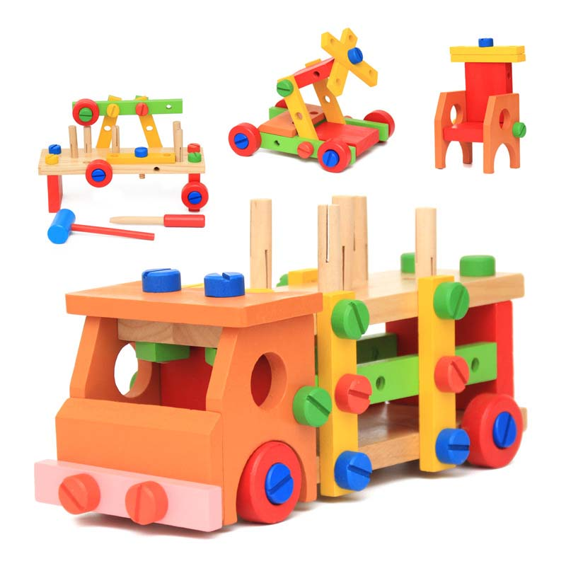 OUY Wooden Children's Multi-Function Taps Disassembly Nut Car Combination Hands-On Educational Toys