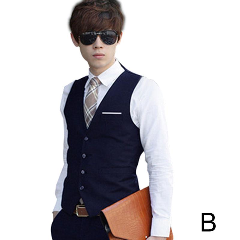 Newly Men Formal Vests Solid Color Waistcoat Slim Fit Single breasted Business Casual Vest for Spring DOD886