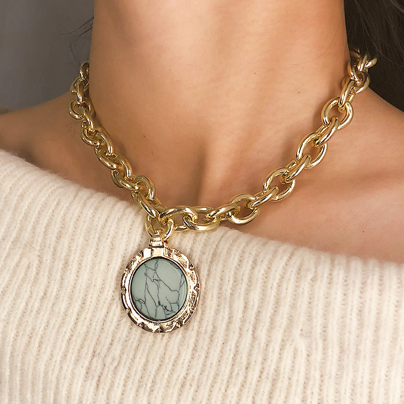 Vintage European Style Round Raw Marble Stone Pendant Necklace for Women Heavy Chains Geometric Necklace Fashion Jewelry XR2048