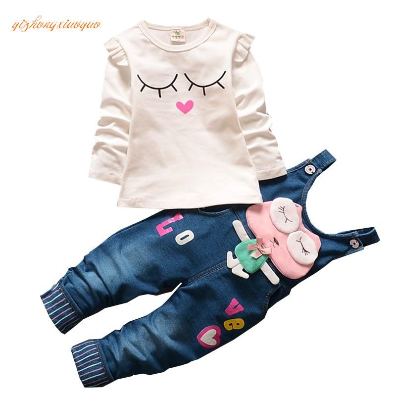 2016 lente en zomer kleding in hoge kwaliteit katoen Animal Print Shirt + broek slabbetjes babykleertjes 1-4 jaar meisje band