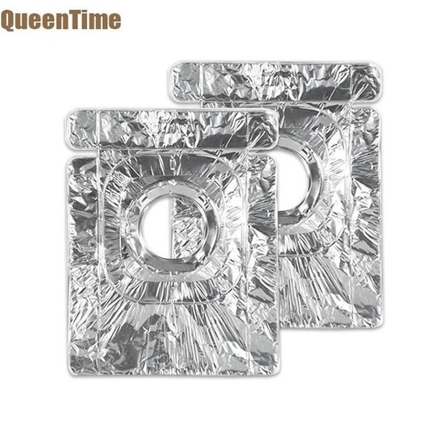 QueenTime 2Pcs Aluminum Foil Gas Stove Burner Covers Gas Range Protector Stoves Liners For Cleaning Kitchen Cookware Mats Gadget