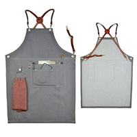 Genuine leather denim aprons cotton cowboy unisex antifouling pinafore Barber Barista Florist Bartender uniform chef Work Wear