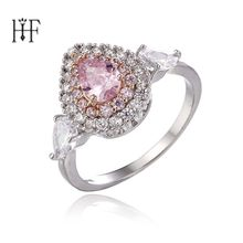 Bohemian Bague Femme Angel Wings Rings for Women Heart Anillos Mujer Pink Yellow Cubic Zircon Wedding Rings Girls Jewellery Gift(China)