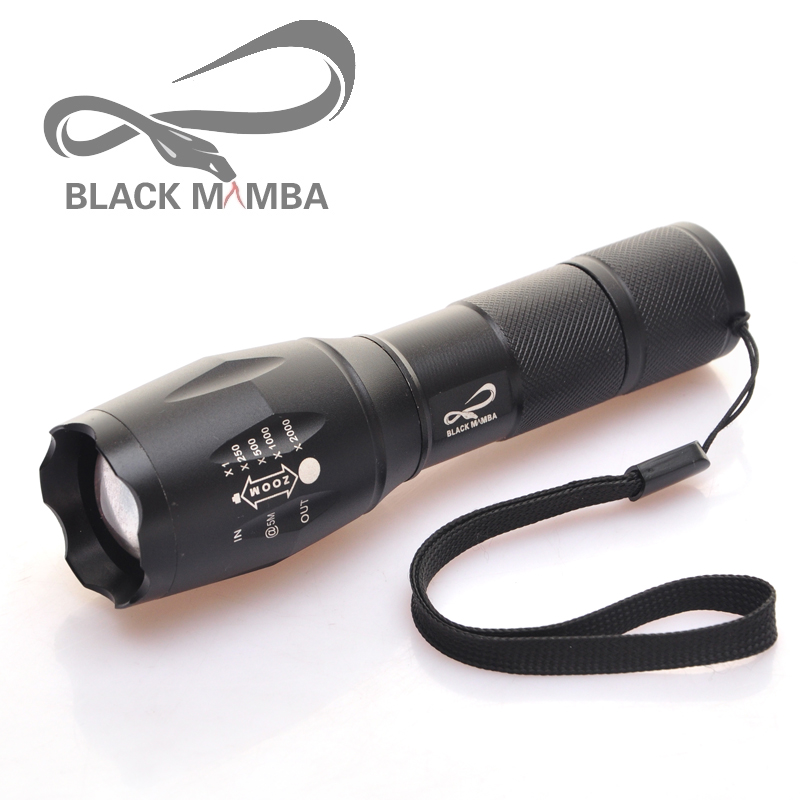 blackmambaCREE XM-L T6 LED Flashlight Torch Light Lamp Zoomable 5-Mode LED Flash Light 3000LM Linterna LED Lanterna Tatica A100 6000 lm 3 led xm l t6 led flashlight torch 3t6 self defense lanterna 16850 flash light linterna led battery charger