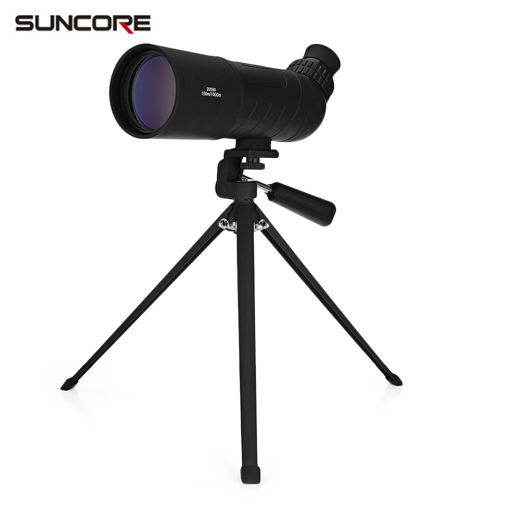 SUNCORE 20X60 BAK7 Monocular Roof Bird Watching Spotting Scope Telescope With Tripod hot selling 15 40x50 zoom hd monocular bird watching telescope binoculars with portable tripod spotting scope blue coating