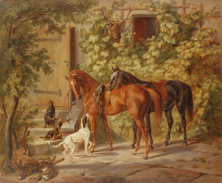 Apr s peinture chasse chevaux chiens mining papier for Peinture apres papier peint