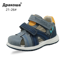 Apakowa Toddler Kids Summer Closed Toe Sandals Baby Boys Flat Heels Sandal for Boys Children's Beach Hook and Loop Outdoor Shoes