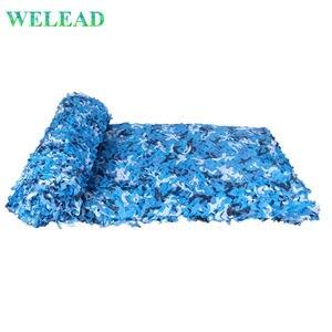 WELEAD 1,5 m ancho reforzado camuflaje red mar azul para Gazebo jardín oculta Pergola sombra balcón toldo Arbor Voile Carport