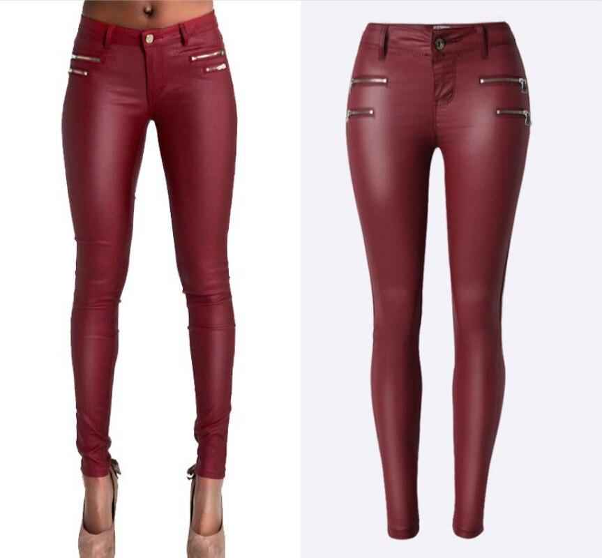 Low Waist PU Leather Pants Women Double Zipper Skinny Jeans Femme High  Stretch Push Up Pants - Compare Prices On Red Leather Skinny Jeans- Online Shopping/Buy