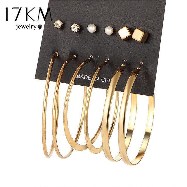 17KM Brand New 9 Pair/set Vintage Gold Color Big Circle Hoop Earrings for Women