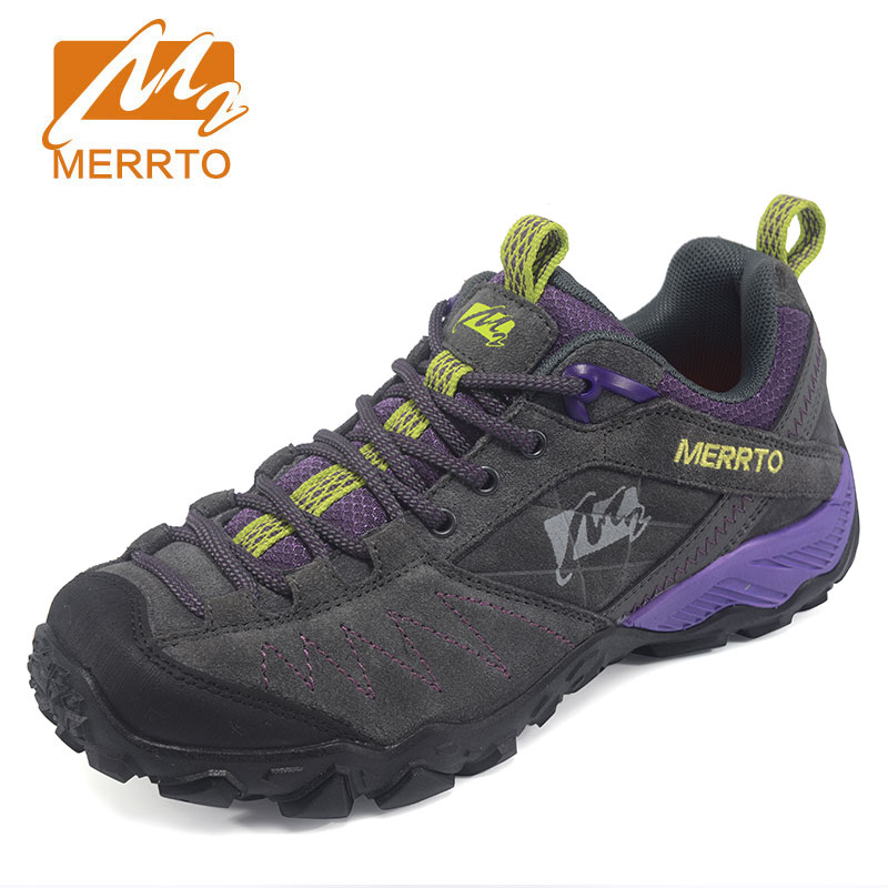 MERRTO Women Hiking Boots Shoe Waterproof Genuine Leather Hiking Shoes Rubber Female Outdoor Sports Shoes bototos outdoor hombre 2018 merrto women hiking boots waterproof outdoor sports shoes full grain leather plus velvet for women free shipping 18001