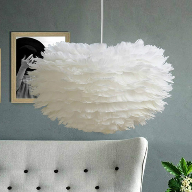Modern Pendant Light Feather Pendant Lamp Vintage Hanging Lamp Home Decor Lighting  Fixture For Kitchen Bedroom Living Room