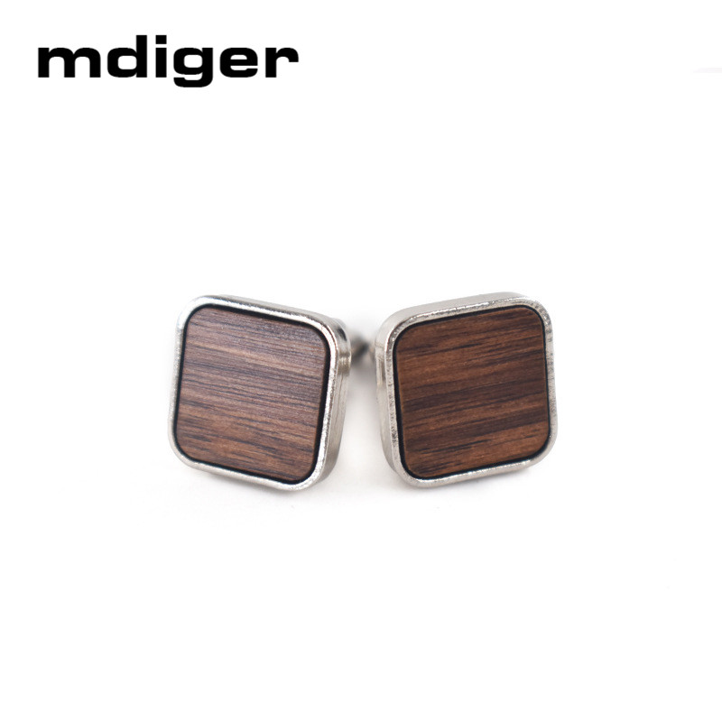 Trendy Round Wood Cufflinks Blank walnut Cuffs Men Shirt Accessory Gifts Cuff Link Men Jewelry pair of trendy solid color smooth surface cylinder shaped cufflinks for men