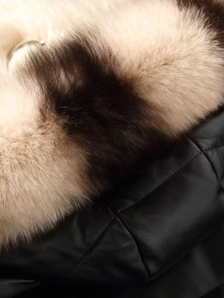 Cuir Véritable Vêtements De Femmes Capuchon Coréen 2018 Manteau Manteaux Peau Renard Hiver Black En Duvet Fourrure Automne Zt1501 Mouton Veste qIrxWEwzIv