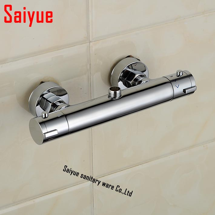 Concealed Bathroom Brass Auto Thermostatic Temperature Control Shower Valve Faucet Mixer Tap chrome blanco alta 512319 tap mixing valve oriental style chrome by blanco