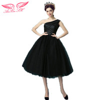 AnXin SH Black Sexy Princess Bride Short Style Wedding Dress Stage Show Little Dress 10072 S