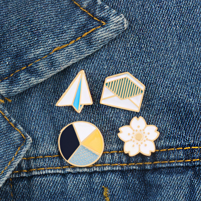 Cartoon Enamel Brooch Cute Jeans Paper Plane Windmill Envelope Backpack Hat Badges Metal Pin Clothing For Women Decoration Pins