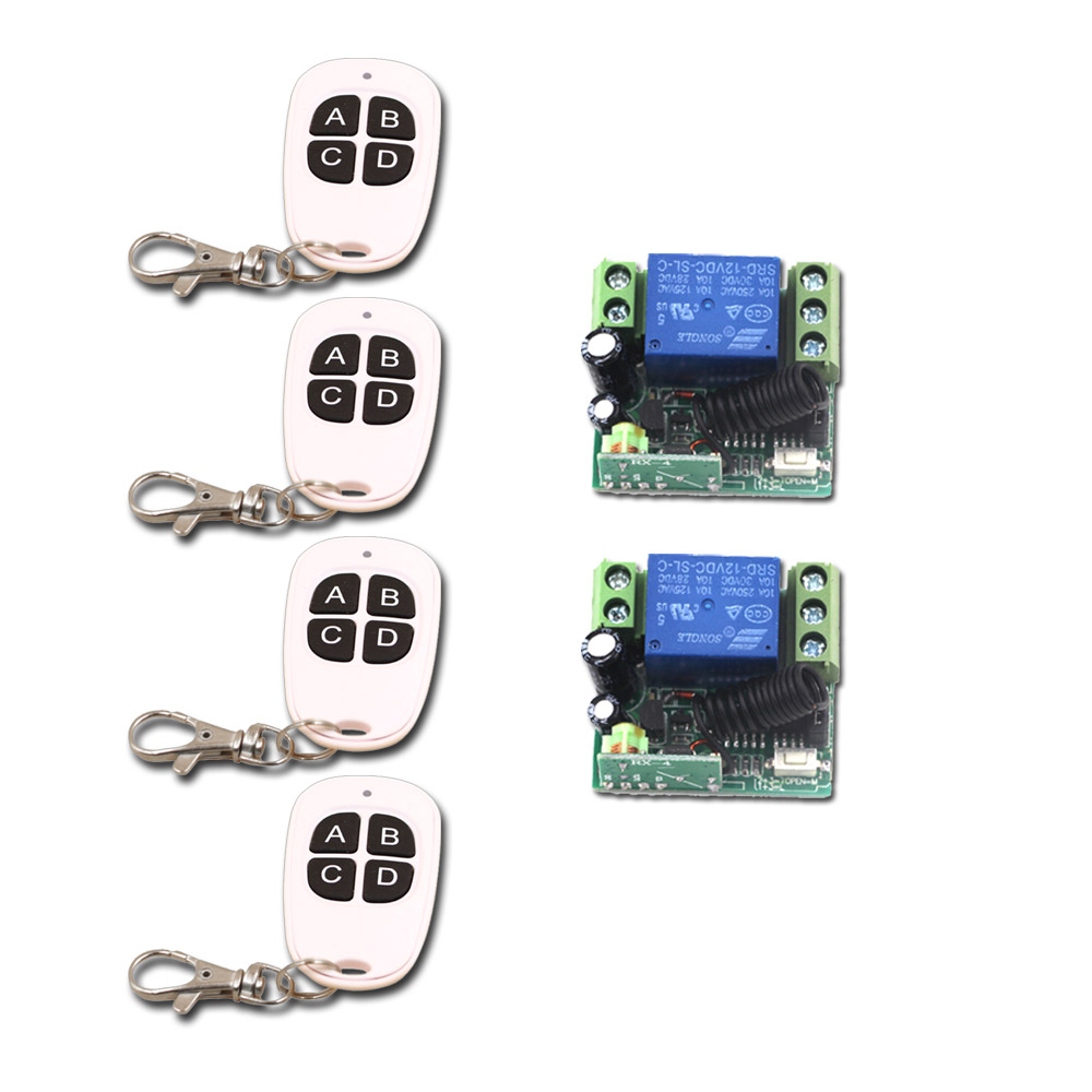 2017 New Arrival 12V 1CH Wireless Remote Control Switch System 4 Transmitter & 2 Receiver Relay Smart Home Free Shipping 2015 new arrival 12v 12volt 40a auto automotive relay socket 40 amp relay
