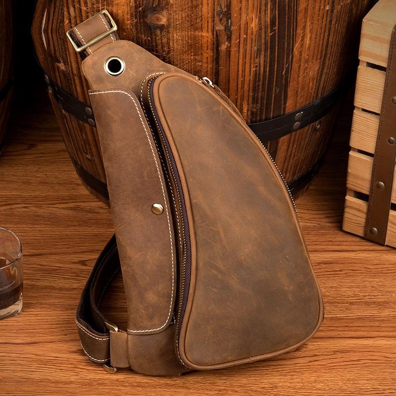 LAPOE Винтаж Crazy Horse Натуральная кожа сумки через плечо мужские брендовые Маленькие Мужские сумки через плечо повседневные музыкальные Сумки ...