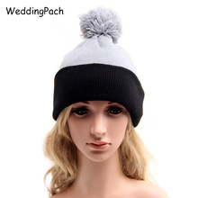 New Women Beanies Hats Striped Knitted Men Skullies Autumn Winter Female Hat With Ball 2017 Warm Double Colors Unisex Beanies