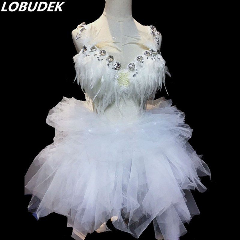 Flash Rhinestones Feathers Bikini White Mesh LED Mini Dress Female Nightclub Singer Stage Outfit Bar Party Show Dance Costume