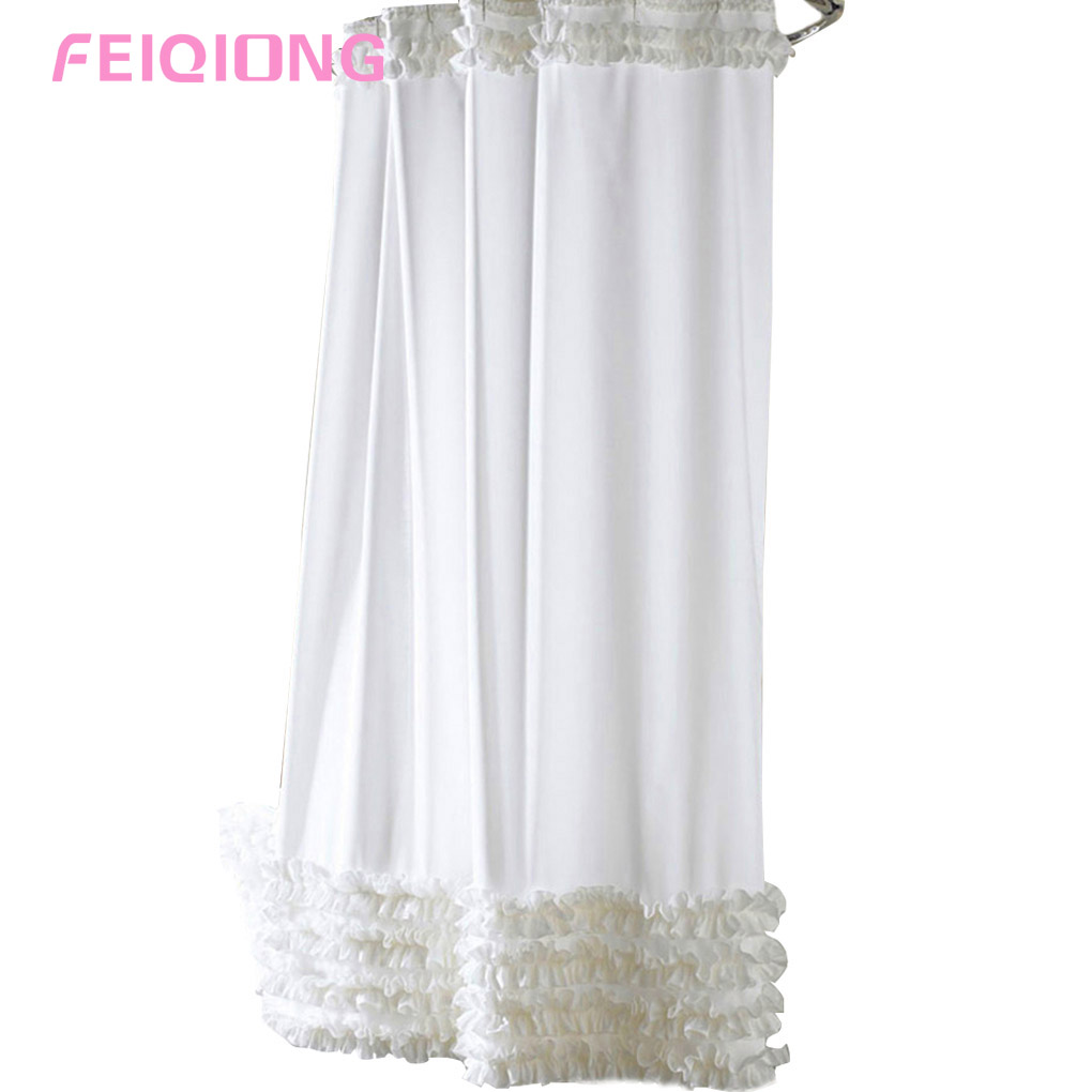 Ruffle bathroom curtain - Artistic Simple Style 3 Size Ruffles Shower Curtain Liner Water Repellent Mildew Free Polyester Bathroom