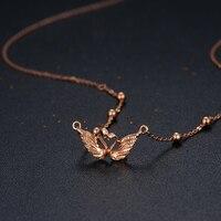 Italy Design AU750 Rose Gold Swan Pendant Necklace
