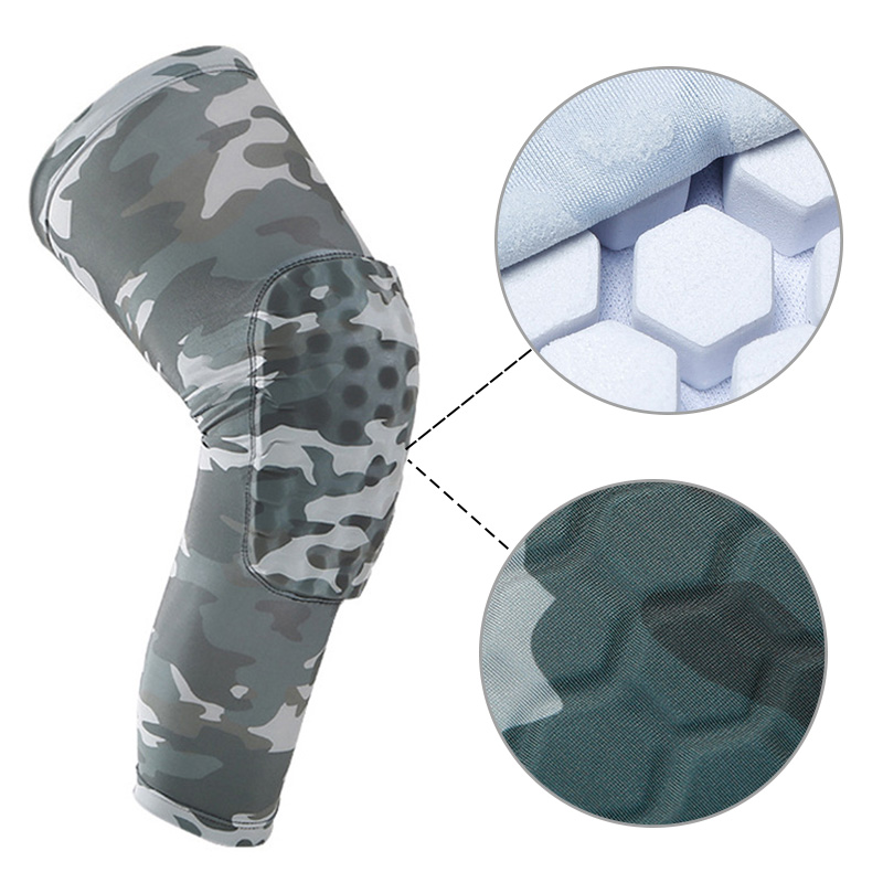 Outdoor Basketball Sports Anti Collision Skid Leg Knee Pads Camouflage Hive Protection Equipment