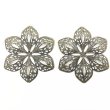 10Pcs Retro Connectors Embelishment Antique Bronze Tone Alloy Flower Filigree Wraps Jewelry DIY Findings Charms 6cm