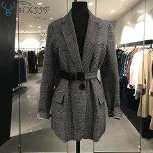 HXJJP 2019 Spring New Korean Women's Retro Plaid Small Suit Jacket Women Tie