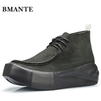 Bmante Men Shoes Height Increasing Flatform Genuine Leather Shoes Autumn Luxury Trainers Casual Male Sneakers Gothic Dark Owen