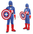 Free shipping Halloween Party costumes The Avengers Children's clothing Role-playing kids Captain America cosplay custome