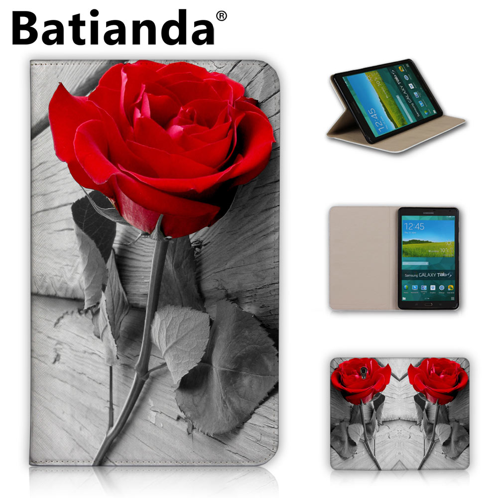 Fashion Printed Rose Stand PU Leather Case For Samsung Galaxy Tab S T700 T705 Case For Samsung Tab S 8.4 Inch Tablet Covers кухонная мойка teka classic 1b 1d lux