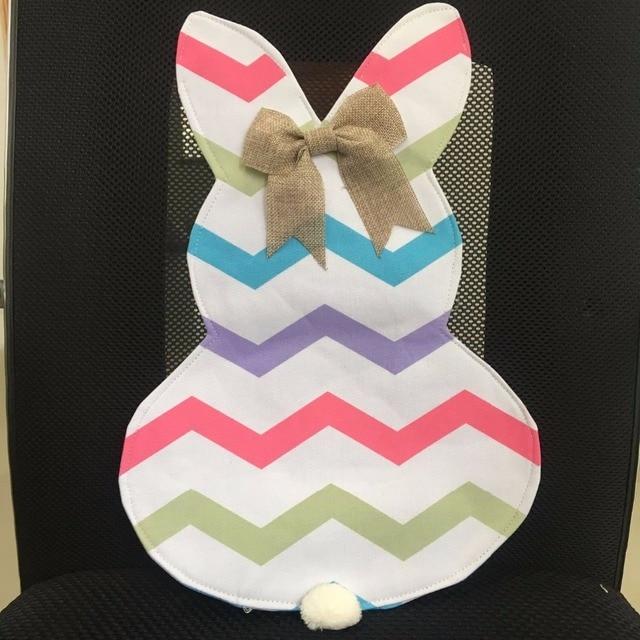 50pcs/lot Free Shipping Monogram Chevron Easter Bunny Garden Flag Canvas  12*18inch Easter