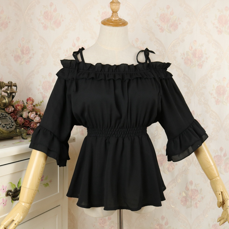 Vintage Lolita Empire Blouse High Waist Halter Neck Shoulder Off Flounce Chiffon Shirt
