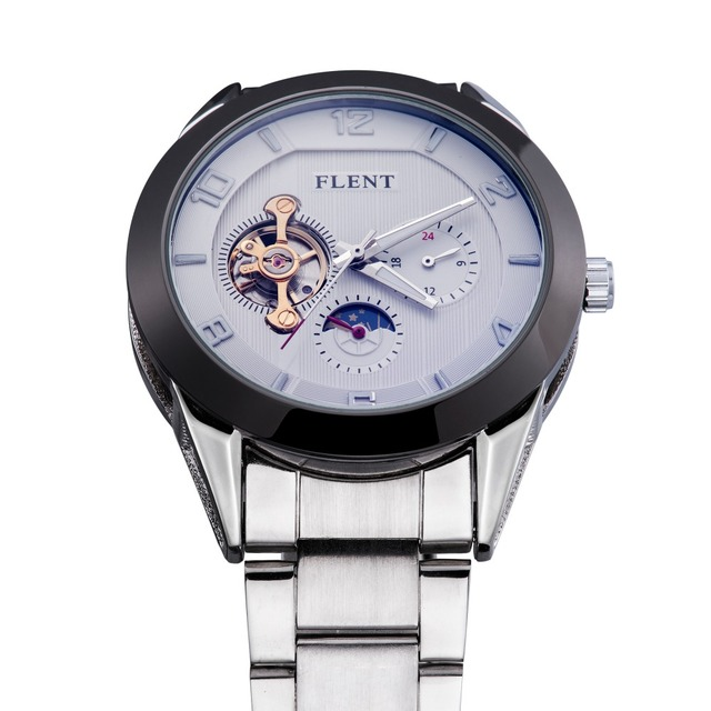 2016 New Arrive Men Moon Phase Stainless Steel Mechanical Watches Automatic Self Winding Business watch, Men Wristwatches