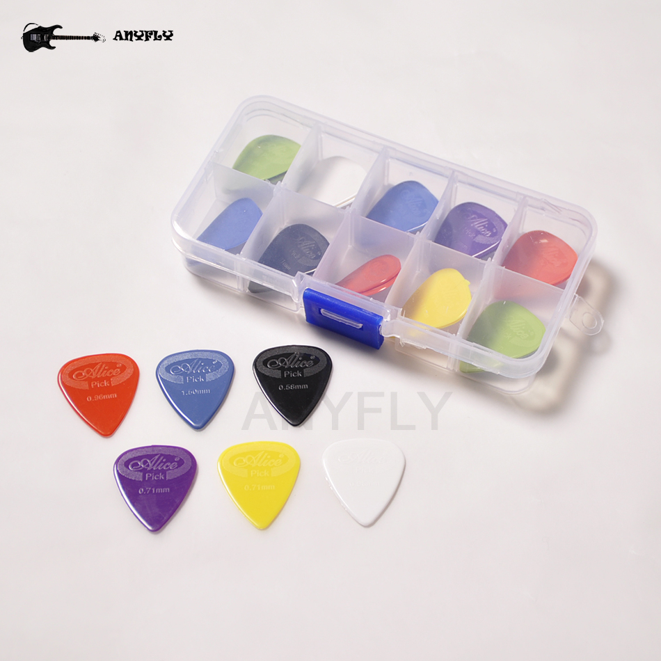 20pcs Guitar Picks Alice AP-G Acoustic Electric Plectrums(Thickness Assorted) + Plastic Guitar Picks Accessories Case Bag
